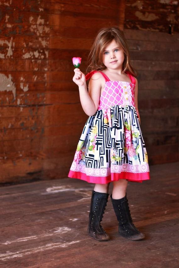 Girls Ella Dress Shoulder Ties Elastic Back Modernique Collection Toddler Girl Infant