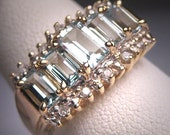 Vintage Aquamarine Diamond Wedding Ring Band 14K Gold Estate Retro