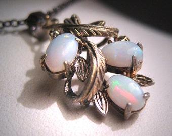 Antique Vintage Australian Opal Pendant Necklace Retro Art Deco 1950