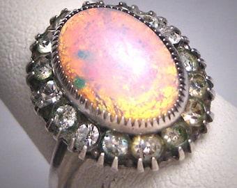 Antique Opal Paste Ring Sterling Silver Victorian Retro Art Deco 1920