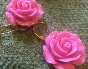 Pretty In Pink Rose Earrings