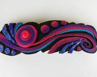 Flow State Barrette, Large in Blue, Purple, and Violet Polymer Clay