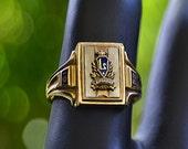 Rare Vintage LAUPAHOEHOE Hawaii 1952 School RING Jostens Enamel 10k Gold Size 7