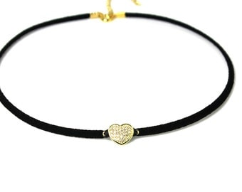 Heart Choker Necklace - Gold Diamond Heart, Bridal Jewelry, Gift For Her, New Design, Layering Necklace, Bridesmaid Gifts, 14k Gold CZ Heart