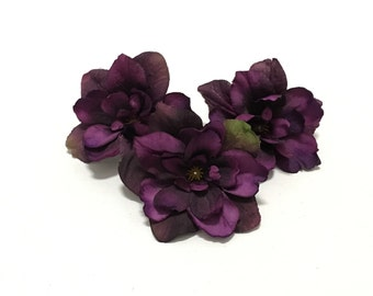 Silk Flowers - Three Delphinium Blossoms in Deep Eggplant Purple - 3 Inch Size - Artificial Flowers