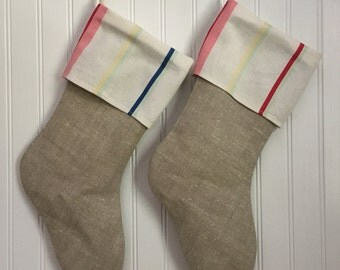 Christmas Stocking Vintage Linen with Stripe Cuff