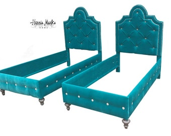 Pair Twin Beds French Tufted Upholstered Any FABRIC SHAPE HEIGHT Crystal Button NailHead Trim Made To Order