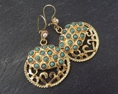 Round Dangly Turquoise Turkish Ethnic Earrings - Gold Plated Brass