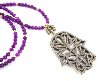 Hamsa Hand of Fatima Rhinestone Necklace Purple Jade Stone Gemstone Statement Gypsy Hippie Bohemian Artisan - One Of A Kind