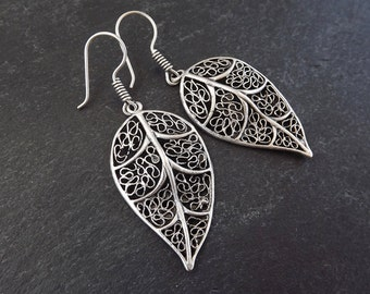 Filigree Skeleton Leaf Ethnic Silver Earrings - Authentic Turkish Style