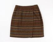 VINTAGE Wrap Skirt Wool Stripe Short Medium