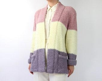 VINTAGE 1980s Purple Stripe Cardigan