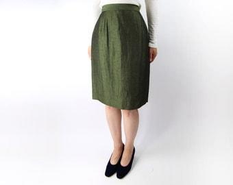 VINTAGE Green Pencil Skirt 1990s