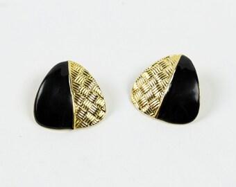 VINTAGE 1980s Gold Black Earrings Triangle Pierced