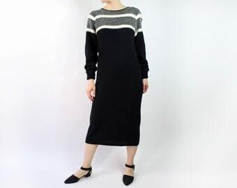 VINTAGE Sweater Dress Black White Angora
