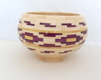 Segmented Wood Bowl Hand Crafted Wood Bowl Unique Centerpiece Wedding Gift Wooden Anniversary Gift USA Made Original Design Salad Bowl
