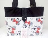 Handmade Black & White Minnie Mouse Tote Bag Handbag Purse + Key Fob