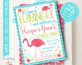 Pink Flamingo Birthday Invitation, Flamingo Invitation, Luau Invitation, Hawaiian Luau Party Invitation, Tropical Party, Girls Birthday