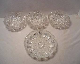 Vintage Pressed Clear Glass Hobstar Pattern 4 Dish Set or Lot