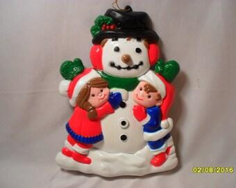 Sweet Vintage Hard Plastic Hanging Snowman Winter or Christmas Decoration