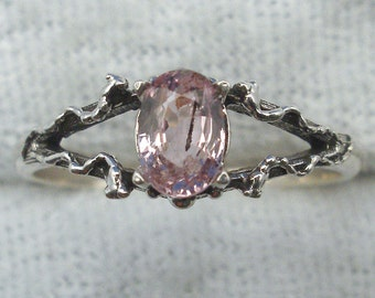 Pink Sapphire, Mythological Stone Protector Ring, Recycled Sterling Silver