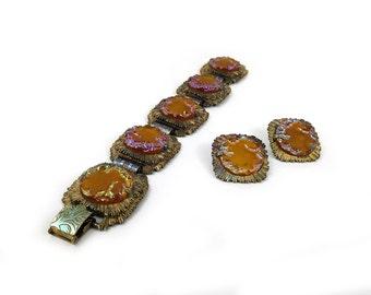 Elizabeth Morrey Bracelet & Earrings Set / Amber Gold Iridescent Art Glass Sun Burst / 1950s Costume Jewelry