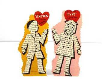 Vintage Valentine's Day Cards - matching boy and girl typographic newsprint