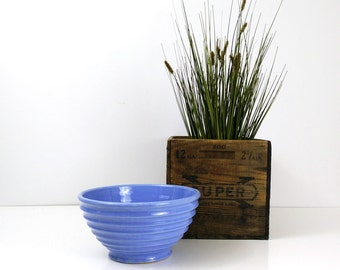Ribbed Mixing Bowl / Vintage Blue Ringed Ceramic Bowl / Farmhouse Kitchen
