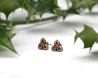 Holly Earrings, Holly Leaf Studs, Holly Berry Posts, Christmas Earrings, Holiday Jewelry, Solstice Jewellery, Yule Earrings, Winter Jewelry