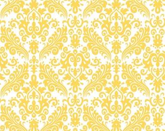 Hollywood Medium Damask Yellow on White Fabric - Half Yard