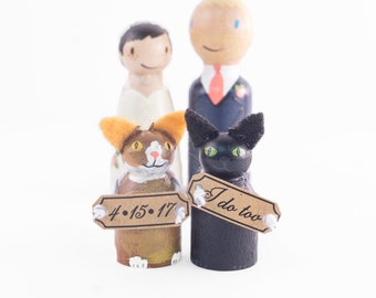 Custom Peg dolls with 2 cats and signs - bride and groom with cats - wedding cake topper cats - cat cake topper - cat wedding cake topper