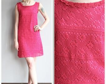 1960s Dress // Magenta Pink Crochet Dress // vintage 60s dress