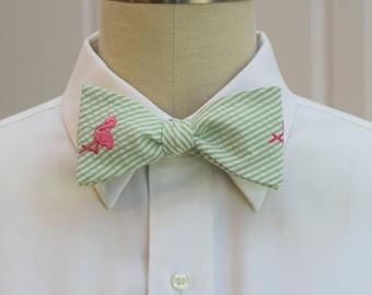 Men's Bow Tie, lime seersucker with hot pink flamingo, wedding party tie, groom bow tie, groomsmen gift, Florida bow tie, self tie bow tie