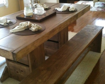 7 foot double trestle table and two long matching benches