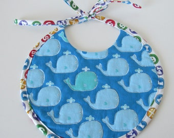 Quilted Baby Bib with Whales and Starfish