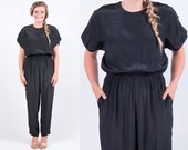 Vintage 1970s 1980s Black Jumpsuit w/ Pockets * Dolman Harem Cocktail LBD Party Holiday Christmas New Year's * Size Medium * FREE SHIPPING