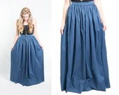 Vintage 1970s Blue Full Pleated Floor Length Maxi Skirt // Bohemian Festival 70s // Size X-small // FREE SHIPPING