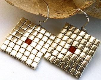 Silver Square Earrings, Miyuki Seed Beads with Coral Dot Earrings, Silver Cube Seed Beads Earrings, Peyote Pattern Woven Earrings