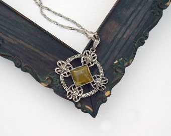 Celtic Cross Irish silver chain necklace Irish stone sterling silver