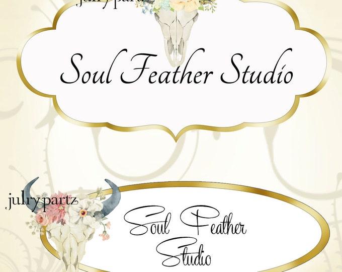 LOGO in Boho Glam•Premade Logo•Jewelry Card Logo•Flower Logo•Custom Logo•Floral and Pastel Skull