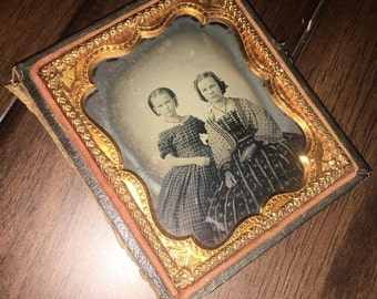 1/6 1860s Ambrotype of Girls / Sisters