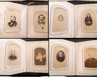 350 CDV & Tintype Photos in ELEVEN 1860s and 1870s Leather Albums