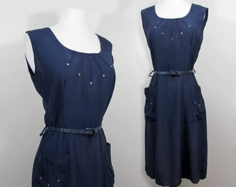Scoop Neck 50s Dress - Navy Blue  - Rhinestone Trimmed bodice & pockets