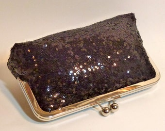 Bridal Clutch Black Sequined Clutch Bridesmaid Holiday New Year's Evening