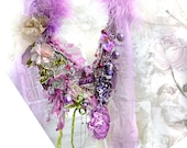 """RESERVED Lovely Sweet Sexy with Feathers with Lavender Taffeta """"Leopard"""", Necklace CRAZY WILd GIRL Antoinette Antique DetailsTattered"""