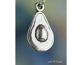 Sterling Silver Avocado Charm Fresh Fruit Guacamole Food 3D Solid .925