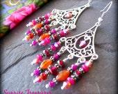 NEW Crystal and Gemstone Chandelier Earrings, Red/Orange/Pink Bohemian Earrings, Fan Shape Beaded Gypsy Earrings, Carnelian Earrings