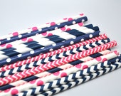Pink and Navy Assorted Paper Straws - Paper Party Straws - QTY 25 - Pink and Navy - Gender reveal - Wedding