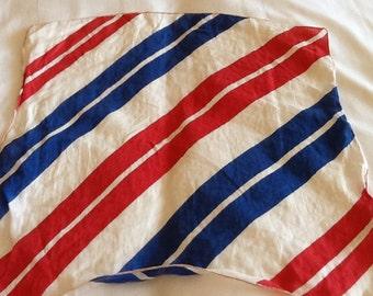 Vintage Red White and Blue Diagonal Striped Cotton Hankie Handkerchief