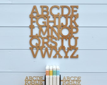 Wood Alphabet Letter Modern Typography Nursery Wall Decor